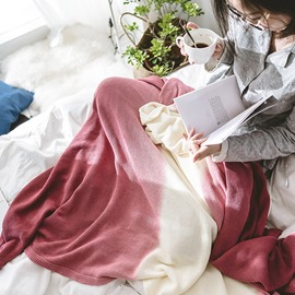 Pure Color Gradient Cotton Soft Knitting Blanket
