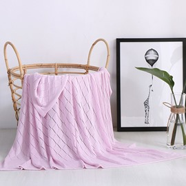 Pure Color Bamboo Fiber Rhombus Hole Spring Blanket