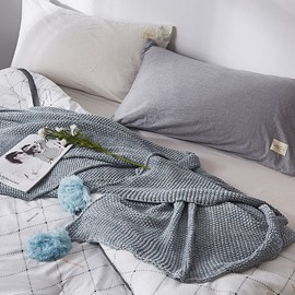 Simple Plain Design Spring Cotton Knitted Blanket