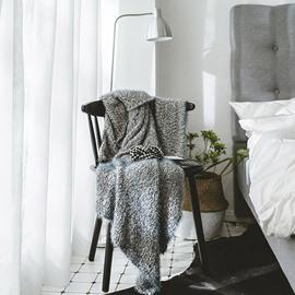Plain Grey Feather Yarn Leisure Polyester Blanket