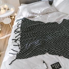 White Wave Square Design Cotton Knitting Spring Blanket