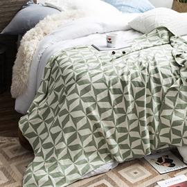 Simple Geometric Pattern Cotton Knitting Towel Blanket