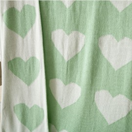 Heart-shaped Mint Green Children Cotton Thread Blanket