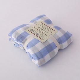 Blue Stripe and Plaid Design Bamboo Fiber Blanket