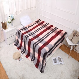 Simple Stripes Wine Red Double Thick Lamb Cashmere Winter Blanket