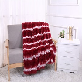 Wine Red Stripes European Style Double Thick Lamb Cashmere Soft Blanket