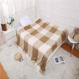 Camel Plaid and Stripes Design Double Thick Lamb Cashmere Winter Blanket