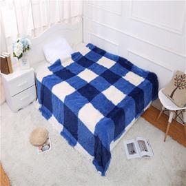 Royal Blue Plaid Simple Style Double Thick Lamb Cashmere Blanket