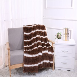 Brown Stripes Pattern Double Thick Lamb Cashmere Blanket