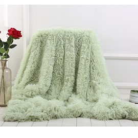 Mint Green Fluffy and Soft Princess Style Double Layer Blanket