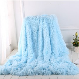 Princess Style Pure Blue Soft and Fluffy Double-Layer Blanket