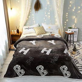 Plain Letter Deep Grey Lightweight Thermal Flannel Blanket for Couch Bed Sofa