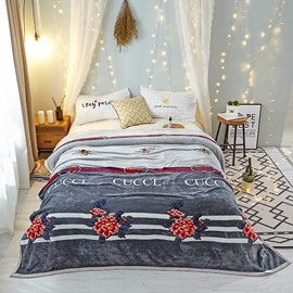 Classic Fashion Style Flower Pattern Warm Thick Flannel Blanket