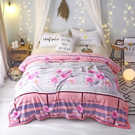Pink Flowers Warm Thick Flannel Indoor Blanket