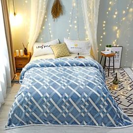 Blue Line Design Plain Style Comfortable Warm Blanket
