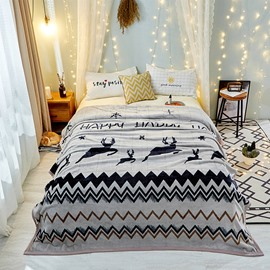 Moose Pattern Wave Design Cozy Style For Bed Flannel Blanket