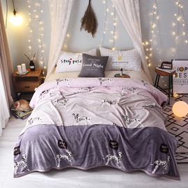 Purple Color Puppy Cartoon Soft Flannel Blanket