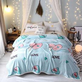 Bright Color Heart Pattern Super Soft Flannel Blanket for Bed