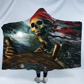 Skull Operate the Rudder 3D Printing Polyester Hooded Blanket