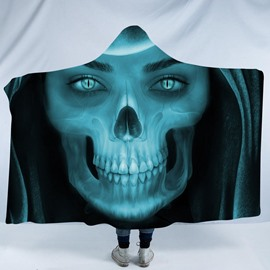 Scary Smiling Skull 3D Printing Polyester Hooded Blanket
