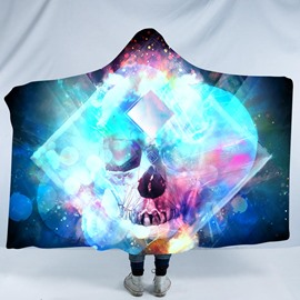 Skull and Cool Green Light Printing Polyester Hooded Blanket