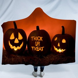 Halloween Pumpkin and Trick or Treat Printing Polyester Hooded Blanket
