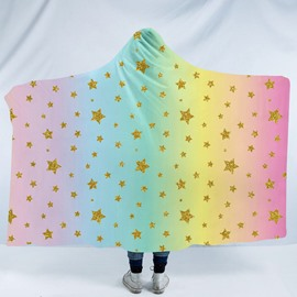Golden Five Point Stars Rainbow Printing Polyester Hooded Blanket
