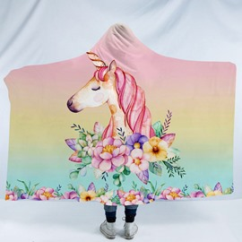 Pink Unicorn and Blooming Flower Printing Polyester Hooded Blanket