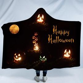 Halloween Pumpkin Lantern Printing Polyester Hooded Blanket