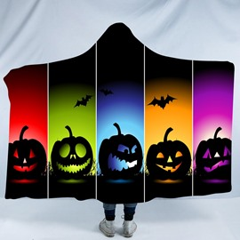 Rainbow Smiling Pumpkin and Bats Printing Polyester Hooded Blanket