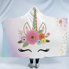 Rainbow Color Funny Unicorn Printing Polyester Hooded Blanket