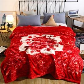Graceful Floral Printing Red Flannel Fleece Bed Blanket