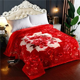 Red Flower Blooming Printing Flannel Fleece Bed Blanket
