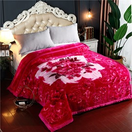 Red Peonies Printing Soft Flannel Fleece Bed Blankets