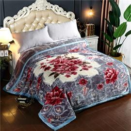 Red Flower Printing Grey Soft Flannel Fleece Bed Blanket