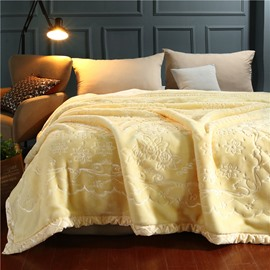 Tender Yellow Flower Printing Flannel Fleece Bed Blanket