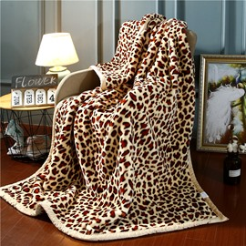 Yellow Leopard Printing Flannel Fleece Bed Blanket for Winter Skin-friendly Ultra-soft Microfiber No-fading