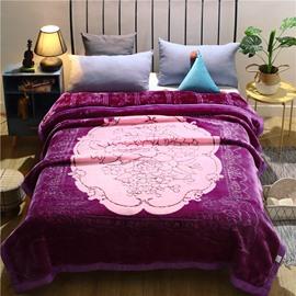 Purple Flower Printing Flannel Fleece Winter Bed Blanket