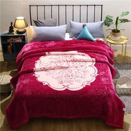 Graceful Floral Printing Rose Red Flannel Fleece Bed Blanket