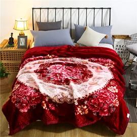 Blooming Flower and Geometric Printing Flannel Fleece Bed Blanket