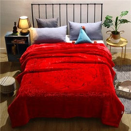 Warm Red Floral Pattern Flannel Fleece Bed Blanket