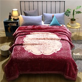 Floral Pattern Simple Style Red Flannel Fleece Bed Blanket for Winter