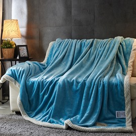 Fashion and Comfort Double Side Milk Cashmere Light Blue Fluffy Blanket