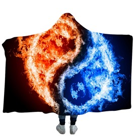 Blue and Red Fire Taiji Yin Yang Pattern 3D Printing Polyester Hooded Blanket
