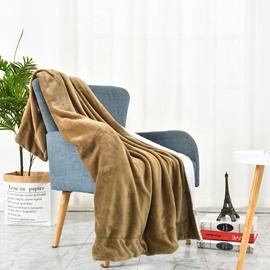 Camel and White Berber Fleece Double Flannel Blanket