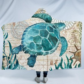 Aqua Turquoise Turtle 3D Printing Polyester Hooded Blanket