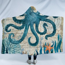Turquoise Octopus Printed Ocean Theme 3D Polyester Hooded Blanket