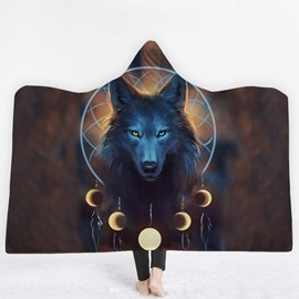 Wolf and Dream Catcher 3D Printing Polyester Hooded Blanket
