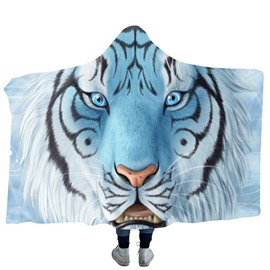 White Tiger Head 3D Printing Polyester Hooded Blanket