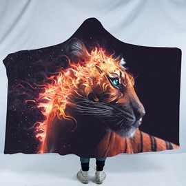 Tiger and Fire 3D Printing Pattern Polyester Hooded Blanket